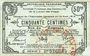 Banknotes Sénones (88). Syndicat Financier des Communes de la Liaison des Vosges. Billet 50 centimes 14.8.1916