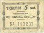 Banknotes Souillac (46). Etablissements Bruel. Billet. 5 centimes