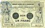 Banknotes Valenciennes (59). Emprunt Consortium. Billet. 1 franc, série 14