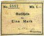 Banknotes Wesserling. Cros Roman & Cie. Billet. 1 mark. Annulé