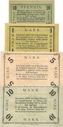 Banknotes Allemagne. Döberitz. Gefangenenlager. Billets. 10 pf, 1 mk, 5 mk, 10 mk n.d.