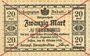 Banknotes Anhalt. Herzogliche F. D. Billet. 20 mark 29.10.1918, Annulation par traits en diagonal