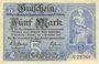 Banknotes Annaberg. Amtschauptmannschaft. Billet. 5 mark 1.11.1918, timbre sec, cachet d'annulation