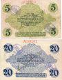 Banknotes Bautzen. Amtshauptmannschaft. Billets. 5 mark, 20 mark 19.11.1918, cachet d'annulation