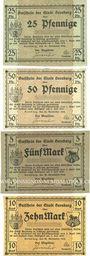 Banknotes Bernburg. Stadt. Série de 4 billets. 25, 50 pf, 5, 10 mark 20.11.1918