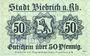 Banknotes Biebrich am Rhein. Stadt. Billet. 50 pfennig 1918, cachet Ungultig