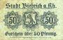 Banknotes Biebrich am Rhein. Stadt. Billet. 50 pfennig 1918