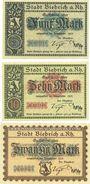 Banknotes Biebrich am Rhein. Stadt. Billets. 5 mark, 10 mark, 20 mark 1918