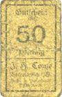 Banknotes Borgentreich. J.H. Conze. Billet. 50 pf, série E (1920)