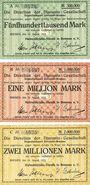 Banknotes Bremen. Hafenbetriebs-Verein in Bremen. Billets. 500000, 1 million, 2 millions de mk 1923
