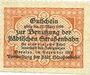 Banknotes Breslau (Wroclaw, Pologne). Städtische Straßenbahn. Billet. 1 voyage (= 20 pf) déc 1919