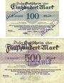 Banknotes Bunzlau (Boleslawiec, Pologne) Bunzlauer Dampfsägewerk u. Holzhandlung. Billets. 100, 500 mk