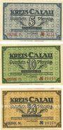 Banknotes Calau. Kreis. Billets. 5, 10, 20 pfennig avril 1918