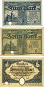 Banknotes Chemnitz. Stadt. Billets. 5 mark, 10 mark, 20 mark 28.10.1918