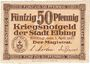 Banknotes Elbing (Elblag, Pologne). Stadt. Billet. 50 pfennig 1.4.1920, découpe défectueuse !