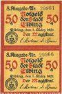 Banknotes Elbing (Elblag, Pologne). Stadt. Billets. 50 pfennig (2 ex non découpés) 1.3.1921