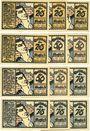 Banknotes Kahla. Stadt. Série de 12 billets. 25 pf (4ex), 50 pf (4ex), 75 pf (4ex) 15.10.1921, statistiques