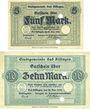 Banknotes Kissingen, Bad. Stadt. Billets. 5, 10 mark 20.10.1918, sans numérotation
