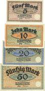 Banknotes Landsberg a. d. Warthe, Stadt, série de 4 billets, 5 mark, 10 mark, 20 mark, 50 mark