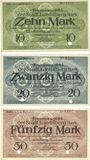 Banknotes Landsberg am Lech, Stadt, billets, 10 mark, 20 mark, 50 mark avril 1919