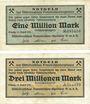 Banknotes Leipzig, Mitteldeutsches Braunkohlen - Syndicat G.m.b.H., billets, 1, 3 millions mark août 1923