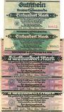 Banknotes Liebenwerda, Kreis, billets, 100 mk sans série + série C, 500 mk sans série (2ex)+ série B 16.9.1922