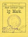 Banknotes Liebstadt (Wilczkowo, Pologne). Stadt. Billet. 1/2 mark (1916-1922)