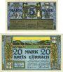 Banknotes Lörrach, Mülheim, Schopfheim, Schönau, Kreis, Amtsbezirke; billets, 5 mark, 20 mark 1.11.1918