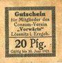 Banknotes Lössnitz i. Erzgeb., Consum- Verein Vorwärts, billet, 20 pf n. d. - 30.6.1921