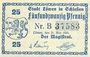 Banknotes Löwen, Stadt, billet, 25 pf 21.5.1920, avec Guschein au lieu de Gutschein