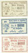 Banknotes Löwen, Stadt, série de 3 billets, 10 pf, 25 pf, 50 pf 21.5.1920