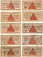 Banknotes Allemagne. Camps allemands de prisonniers de guerre 1939-1945. Lot de 10 billets de 10 pfennig