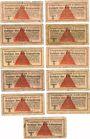 Banknotes Allemagne. Camps allemands de prisonniers de guerre 1939-1945. Lot de 11 billets de 10 pfennig
