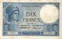 Banknotes Banque de France. Billet. 10 francs Minerve, 27.9.1917