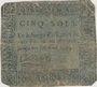 Banknotes Dijon. Billet de 5 sols n. d.