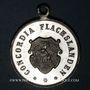 Coins Alsace. Flaxlanden. Consécration du drapeau de la société Concordia. 1897. Médaille plomb-étain