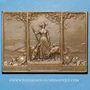 Coins Alsace. Mulhouse. Centenaire de la fabrique de drap Dollfus & Noack. 1911. Plaquette bronze 50x70 mm