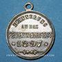 Coins Alsace. Mulhouse. Fête des pompiers. 1897. Médaille en laiton argenté. 29 mm. Avec sa bélière