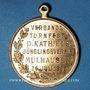 Coins Alsace. Mulhouse. Tournoi de gymnastique des Jeunesses Catholiques. 1908. Médaille cuivre doré 28 mm