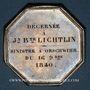 Coins Alsace. Orschwihr. Compagnie d'assurances Soleil- Sinistre à Orschwihr. 1840. Jeton octogonal en arg