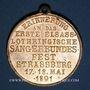 Coins Alsace. Strasbourg. 1ère fête des chanteurs d'Alsace-Lorraine. 1891. Médaille. Bronze doré. 33,33 m