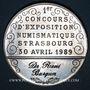 Coins Alsace. Strasbourg. U.N.A. - 1er concours d'exposition numismatique. 1989. Médaille étain. 42,33 mm