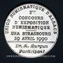 Coins Alsace. Strasbourg. U.N.A. - 2e concours d'exposition numismatique. 1990. Médaille étain. 41,5 mm
