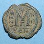 Coins Empire byzantin. Justin II (565-578). Follis. Constantinople. 3e officine, 568-569