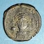 Coins Empire byzantin. Justinien I (527-565). Follis. Constantinople. 2e officine, 552-553