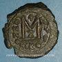 Coins Empire byzantin. Maurice Tibère (582-602). Follis. Nicomédie, 1ère officine. 588-589