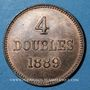 Coins Guernesey. Victoria (1837-1901). 4 doubles 1889H