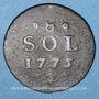 Coins Luxembourg. Marie-Thérèse d'Autriche (1740-1780). 1/8 sol 1775. Bruxelles