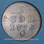 Coins Luxembourg. Marie-Thérèse d'Autriche (1740-1780). 1 sol 1775. Bruxelles