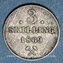 Coins Norvège. Charles XV Adolphe (1859-1872). 3 skilling 1869